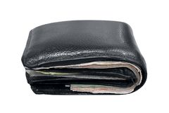 Wallet, billfold, black leather wallet isolated on white background, wallet full on white background, wallet full of banknotes. The wallet, billfold, black Stock Photos