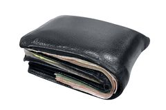 Wallet, billfold, black leather wallet isolated on white background, wallet full on white background, wallet full of banknotes. The wallet, billfold, black Stock Photo