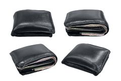 Wallet, billfold, black leather wallet isolated on white. The black wallet leather set of collection, black billfold old, black leather wallet isolated on white Royalty Free Stock Image