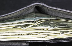 Wallet and Bills Stock Images