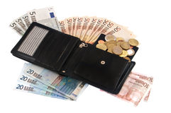 Wallet with bills Royalty Free Stock Photo