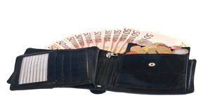 Wallet with bills and coins Stock Photos