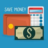 Wallet with bills dollars and calculator. Vector illustration design Stock Photo
