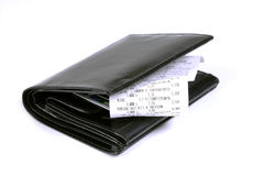 Wallet and bills of sale Stock Image