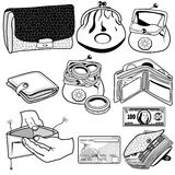 Wallet black icons Stock Photography