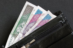 Wallet. Black leather walet with Polish currency Stock Image
