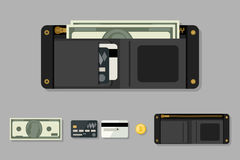 Wallet black with money Royalty Free Stock Images