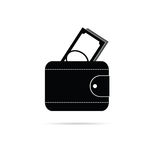 Wallet black and white vector silhouette. Illustration Stock Image