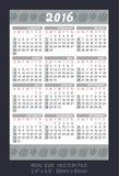 Wallet calendar 2016, start on Sunday Royalty Free Stock Image