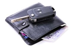Wallet money and Car Key Stock Image