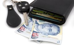 Wallet Car Keys Money Stock Image