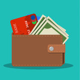 Wallet with card and cash Royalty Free Stock Images