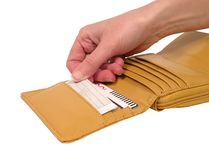 Wallet with card-clipping path Stock Photography