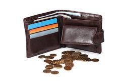 Wallet with cards and coins Royalty Free Stock Images