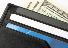 Wallet with cards and money stock image