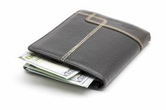 Wallet with cash. Black leather wallet with cash dollars on a white background Stock Photos