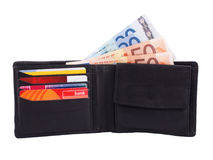 Wallet with cash and cards Royalty Free Stock Images