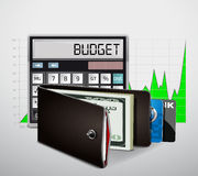 Wallet with cash and credit cards Stock Images