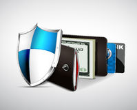 Wallet with cash and credit cards Stock Photography
