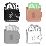 Wallet with cash icon in cartoon style isolated on white background. E-commerce symbol stock vector illustration. Stock Photography