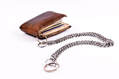 Wallet and chain. Isolated on white Stock Image