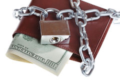 A wallet with a chain and padlock Stock Photos