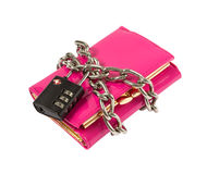 Wallet with chain and padlock Royalty Free Stock Photo