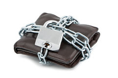Wallet in chains closed padlock. Stock Photo