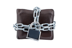 Wallet in chains closed padlock. Stock Images