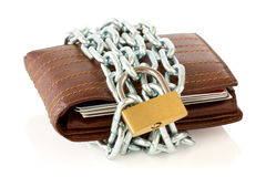 Wallet in chains with padlock Royalty Free Stock Image