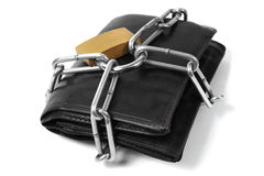 Wallet in chains Royalty Free Stock Photos