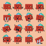 Wallet character emoji set Stock Photography