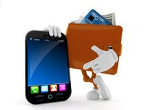 Wallet character with smart phone stock illustration