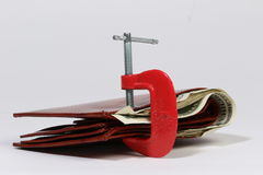 Wallet in clamp Stock Photography