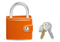 Wallet closed on the lock and a bunch of keys Royalty Free Stock Image