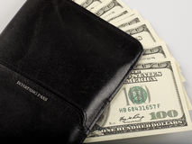 Wallet. A closed wallet with some money cash in it Royalty Free Stock Photos