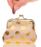 Wallet and coin Royalty Free Stock Photography