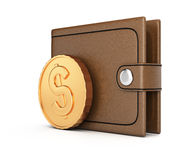 Wallet and coin Royalty Free Stock Photos