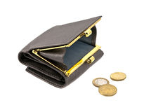 Wallet with coins Stock Photography
