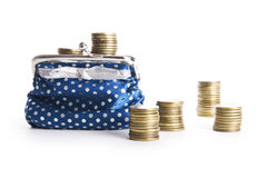 Wallet with coins Royalty Free Stock Photo