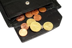 Wallet and coins Royalty Free Stock Photos