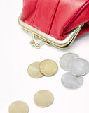 Wallet with coins Stock Image