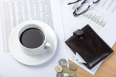 Wallet with credit card on a accountant's desk with cash Stock Images
