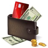 Wallet with credit card banknotes and coins Stock Photos
