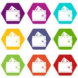 Wallet with credit card and cash icon set color hexahedron. Wallet with credit card and cash icon set many color hexahedron isolated on white vector illustration Royalty Free Stock Photos