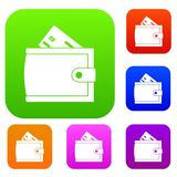Wallet with credit card and cash set collection Royalty Free Stock Images