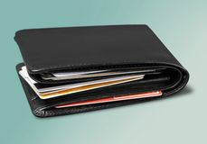Wallet. Credit Card Home Finances Full Stack Isolated Currency royalty free stock photo