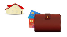 Wallet, credit card and house Stock Images