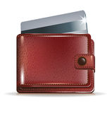 Wallet with credit card inside Royalty Free Stock Photo