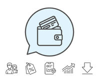 Wallet with Credit card line icon. Cash money. Stock Photography